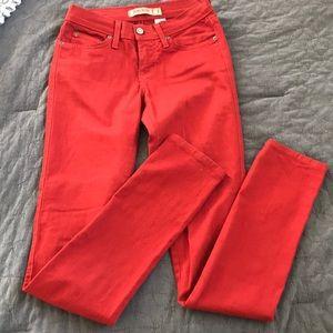 Denim - Brick red jean pants